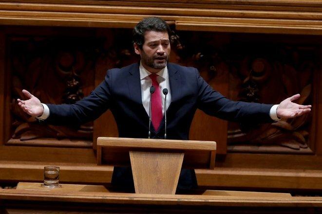 André Ventura, el 10 de enero de 2020 en la Asamblea de Lisboa. © Pedro Fiúza/NurPhoto/AFP