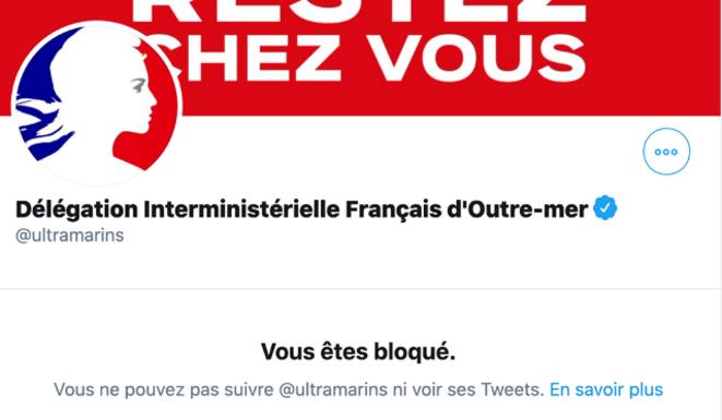 Capture d'écran collector mettant en évidence le blocage d'un compte Twitter par la délégation ministérielle
