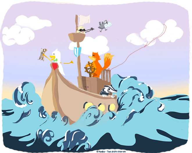 Le bon équipage sur l'océan du web © Manika illlustration