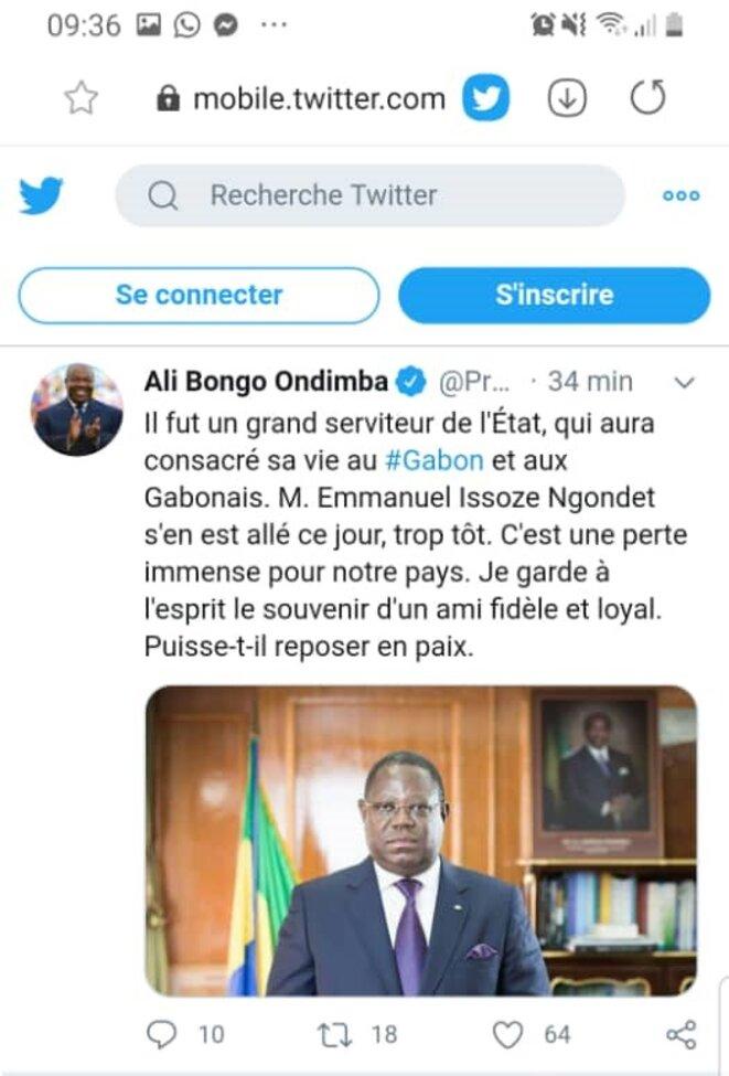 Le tweet du Président Gabonais, M. Ali Bongo Ondimba