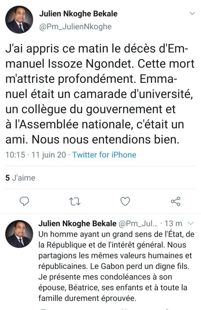 Le tweet du Chef du gouvernement, M. Julien Nkoghé Bekalé