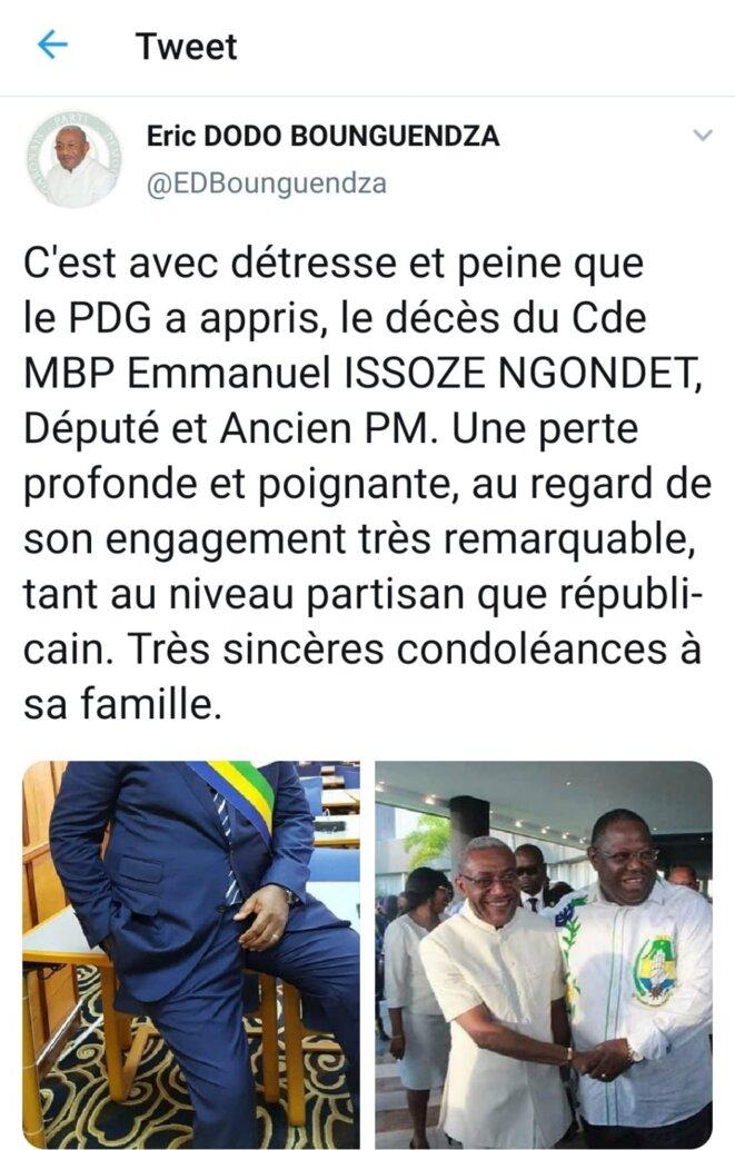 Le tweet du Secrétaire général du Parti  Démocratique Gabonais (PDG), M. Éric Dodo Bounguendza,