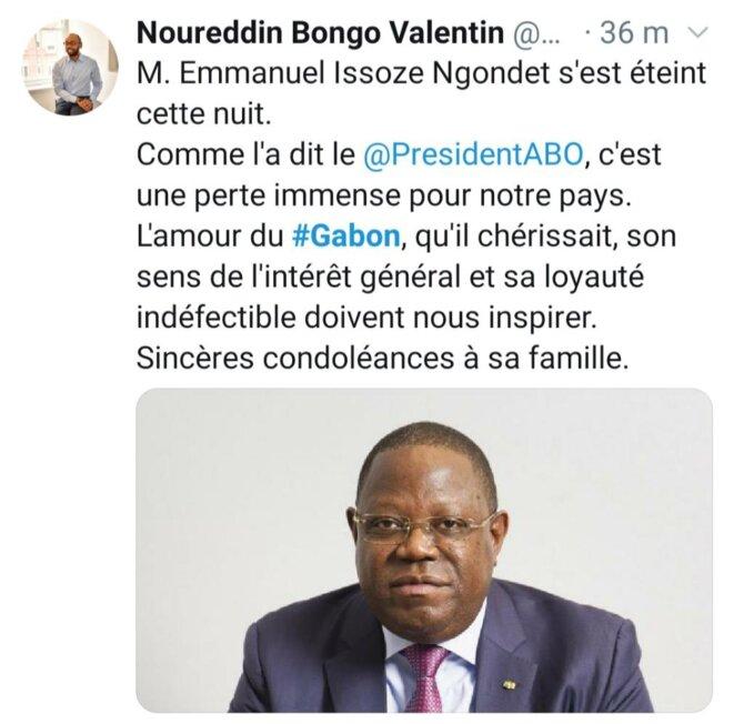 Le tweet du Coordinateur général des Affaires présidentielles, M. Noureddin Bongo Valentin