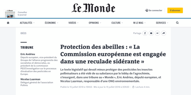 https://www.lemonde.fr/idees/article/2019/07/15/protection-des-abeilles-la-commission-europeenne-est-engagee-dans-une-reculade-siderante_5489682_3232.html