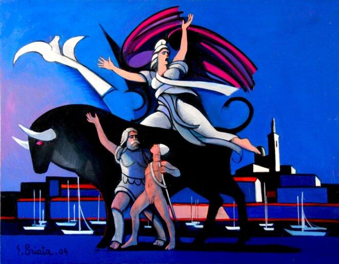 """Hymne à l'Europe - Geoges Briata 2004. La belle Europa, aux allures de Marianne, chevauche un superbe taureau noir, celui du Charbon et de l'Acier, sous le regard protecteur de la """"Bonne Mère""""."""