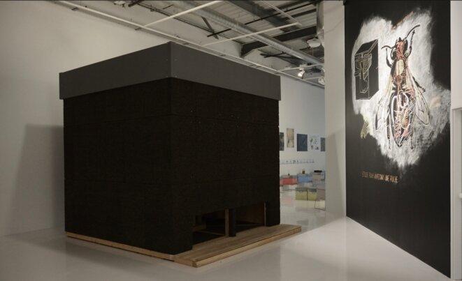 Olivier Raud, La chambre d'abeilles, 2020, sculpture en pin douglas, liège, tissus occultant, cadres de ruche, ruches, 300 x 300 cm, et Abraham Poincheval, Sans titre (ruche), dessin mural, 5m x 5m, 2020 (Photo Alain Alquier)
