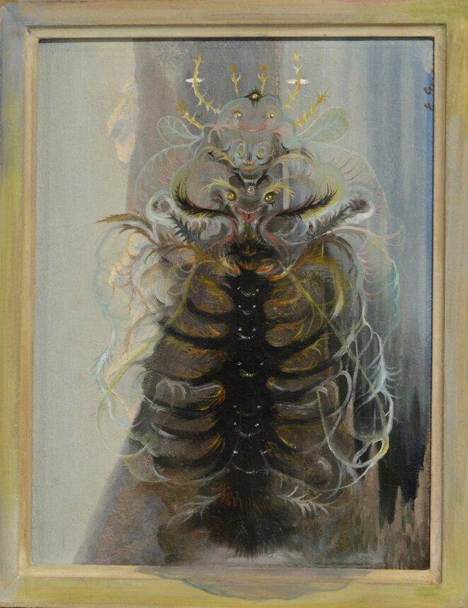 Vidya Gastaldon, Queen bee (healing painting), 2016. Huile sur tableau trouvé, 34,5 x 27,5 cm