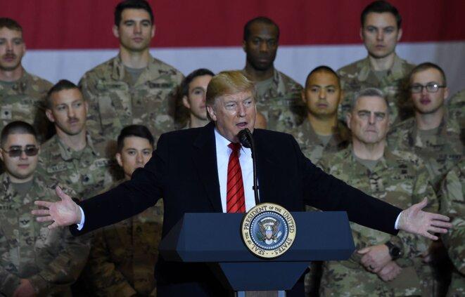 Le président américain, Donald Trump, en visite surprise aux troupes américaines en Afghanistan en novembre 2019. © Olivier Douliery / AFP
