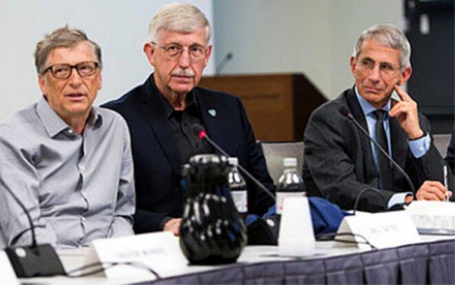 L'eugéniste Bill Gates, à gauche, le directeur des Instituts américains de la santé (NIH), le Dr Francis Collins et le directeur du NIAID, le Dr Anthony Fauci (conseiller de Donald Trump sur le coronavirus), lors d'un atelier sur la santé mondiale 2017 de la Fondation Gates sur des sujets qui comprenaient la recherche sur les vaccins.