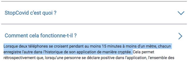 Capture d'écran de la FAQ StopCovid. © Mediapart