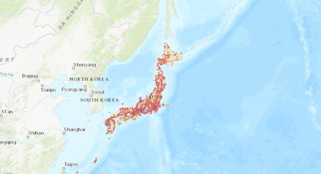 nPerf : Carte de couverture 3G / 4G / 5G au Japon. Réseau mobile cellulaire NTT DoCoMo.