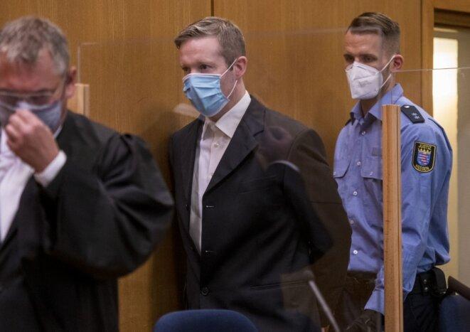 Stephan Ernst à l'ouverture de son procès devant la Haute Cour régionale de Francfort, mardi 16 juin. © Thomas Lohnes / dpa Picture-Alliance via AFP