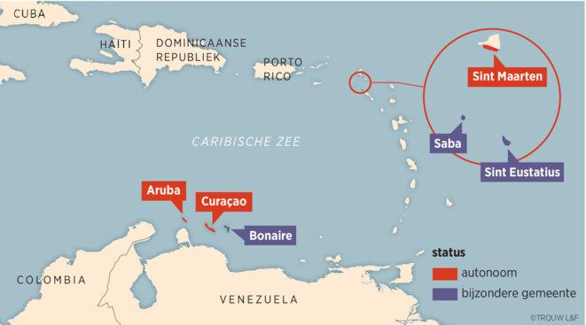 Le statut de dépendance modernisée des différentes îles néerlandaises des Caraïbes. En rouges les îles à statut d'Autonomie, en bleu les collectivités /municipalités spéciales. Image Louman & Friso.