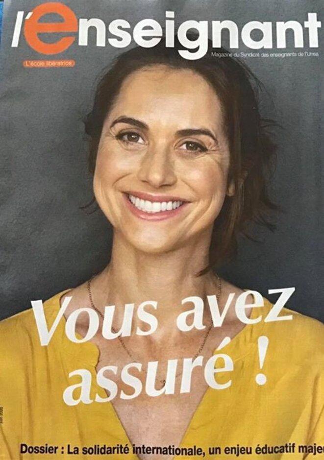Enseignants, «vous avez assuré». © Illustration : couverture de la revue du SE-UNSA «L'Enseignant» (juin 2020), accessible en ligne..