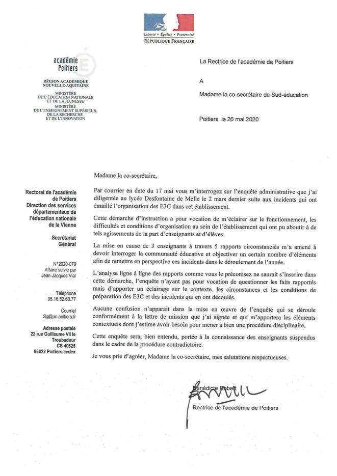 Courrier de la rectrice de l'académie de Poitiers du 26 mai © Rectrice de l'académie de Poitiers