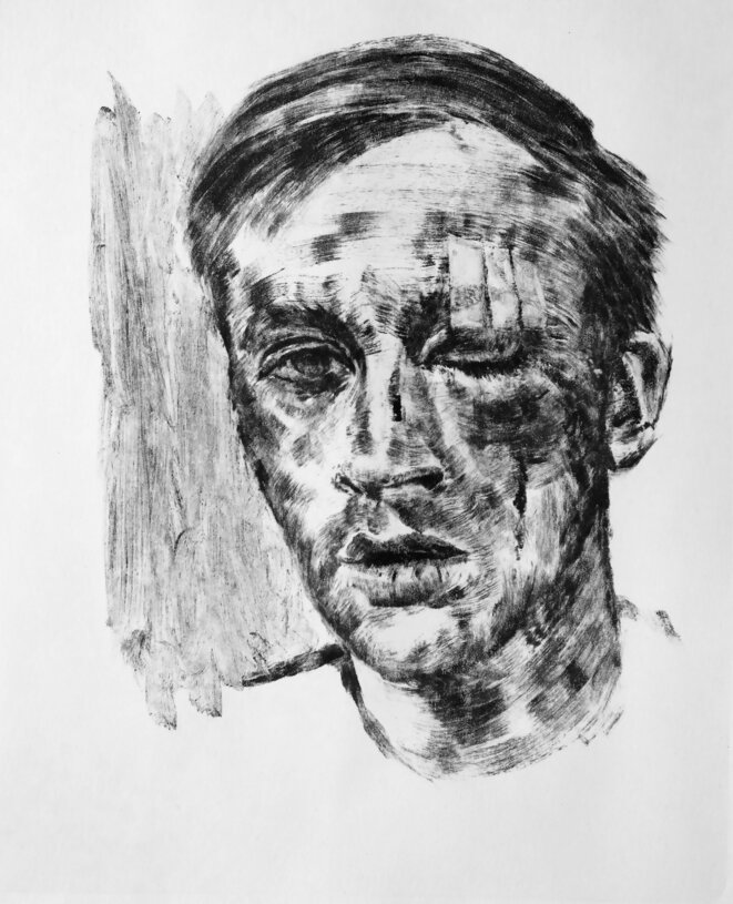 """""""Gewaltmonopol"""" 2020 monotype encre sur papier 25,5 x 21 cm © Laurent Rabier"""