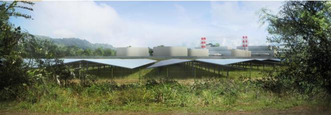 Visualisation de la future centrale à fioul de Larivot, en Guyane. © DR