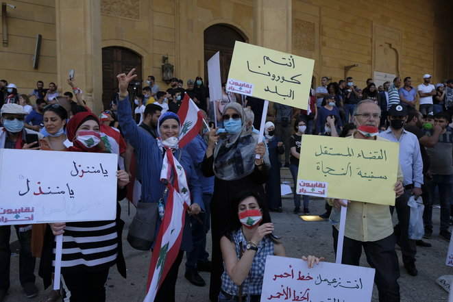 Manifestation au centre-ville de Beyrouth le 6 juin 2020. © JB