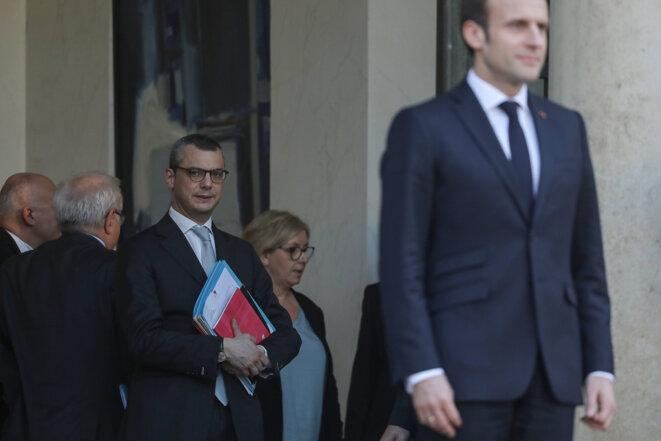 Emmanuel Macron et Alexis Kohler à l'Élysée, le 27 février 2019. © Ludovic Marin / AFP.