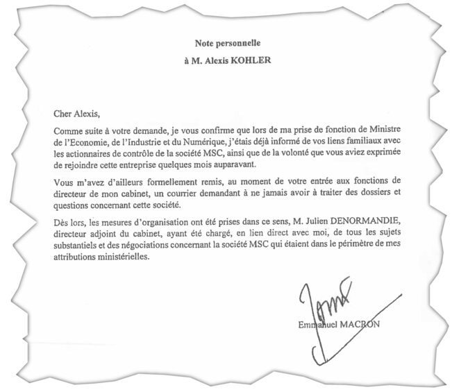 The statement written by President Emmanuel Macron on behalf of his chief of staff, Alexis Kohler. © Document Mediapart