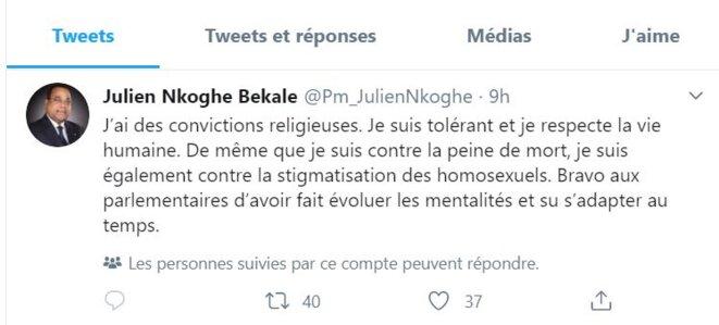 Dépénalisation de l'homosexualité au Gabon- Tweet du 1er Ministre Julien Nkoghé Békalé.