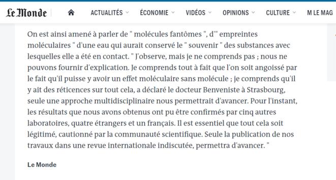 """«Une base scientifique pour une discipline contestée? Les """"molécules fantômes"""" de l'homéopathie», Le Monde, 29 mai 1988. © Le Monde"""