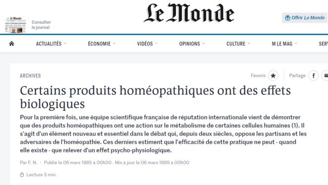 «Certains produits homéopathiques ont des effets biologiques». Le Monde, 6 mars 1985. © Le Monde