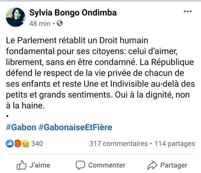 Gabon. Sylvia Bongo Ondimba, Tweet publié le 24 juin 2020 sur son compte officiel.