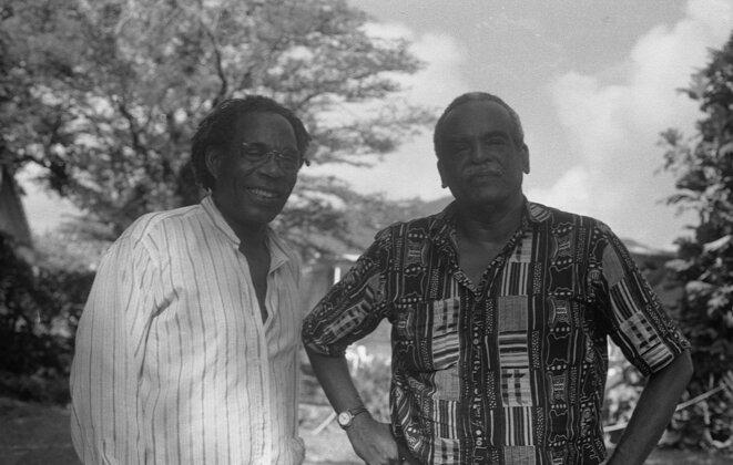 Jacques Coursil et Édouard Glissat, au Diamant vers 1993. Photo, Marie Coursil