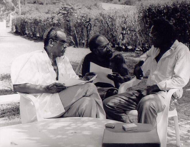 Édouard Glissant, Patrick Chamoiseau, Jacques Coursil au Diamant, vers 1993.