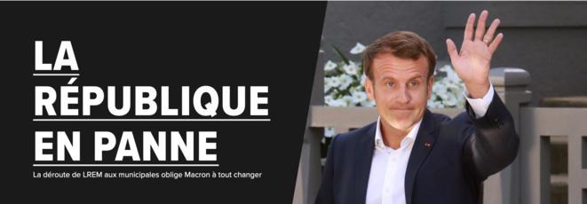 """A la Une du Huffington Post... mais rien n'oblige Macron à """"tout changer""""."""