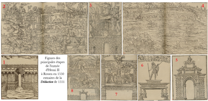 """Figures des principales scénographies de l'entrée royale de 1550, d'après la """"Déduction"""". © BRL"""