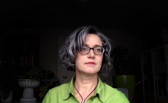 """Margaret Price, PhD, professeur à l'université d'État de l'Ohio, qui souffre de stress post-traumatique et a écrit le livre """"Mad at School"""", sur le handicap mental dans l'enseignement supérieur."""