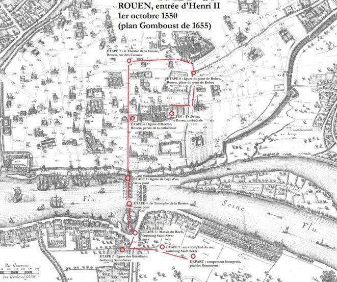 Trajet de l'entrée royale de 1550 avec les principales étapes. © BRL