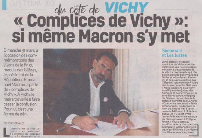 Le maire (LR) de Vichy, Frédéric Aguilera, en mode Actors Studio. © La Semaine de l'Allier, 11.04.2019