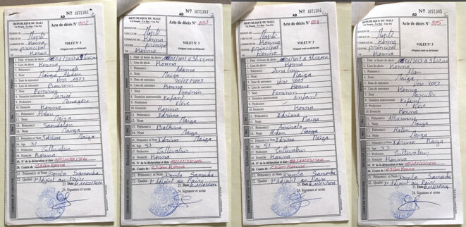 Les certificats de décès de la femme et des trois enfants d'Idrissa Maiga. © DR