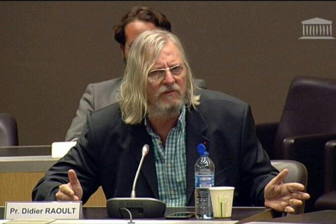 Didier Raoult devant les députés de la commission d'enquête sur le Covid-19, mercredi 24 juin. © Capture d'écran