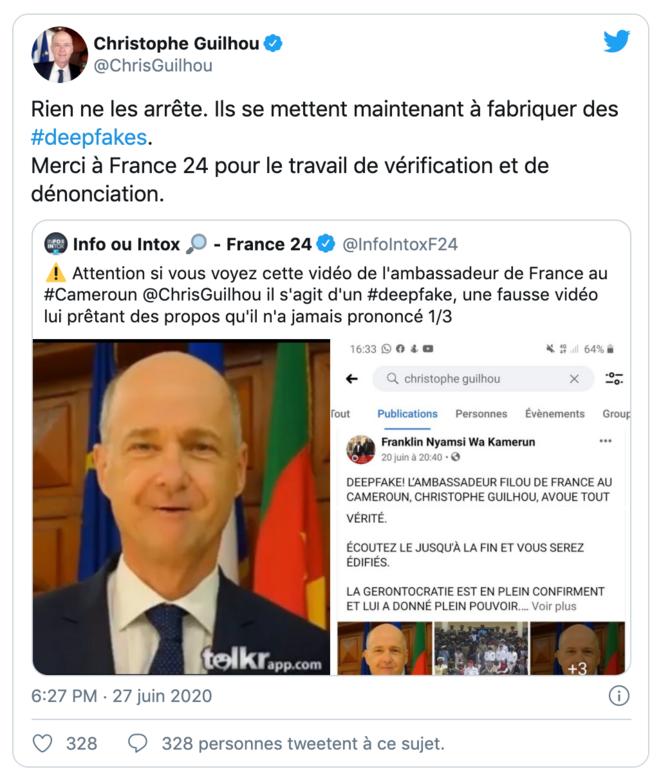 Le tweet de réponse de Christophe Guilhou, ambassadeur au Cameroun