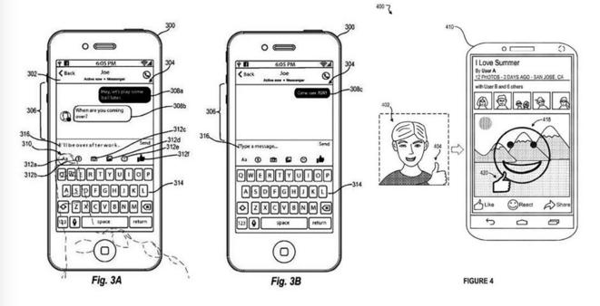 Extrait d'un diagramme d'un brevet déposé par Facebook, qui propose de « discrètement prendre le contrôle » de votre caméra pour analyser vos émotions et vous proposer des emojis adaptés. © © Smartphones, MetisPresses