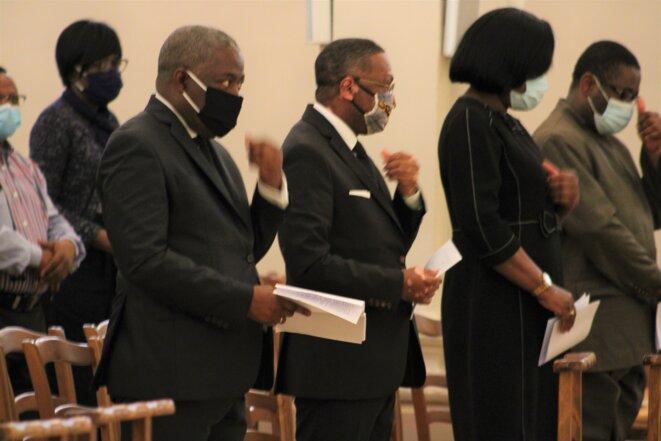 2ème à gauche S.E.M Flavien Enongoué, Ambassadeur du Gabon ; 2ème à droite S.E.Mme Rachel Annick Ogoula, épouse Obiang, Ambassadrice du Gabon auprès de l'UNESCO
