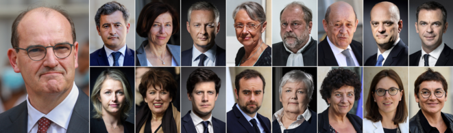 French Prime Minister Jean Castex (main photo left) and his 16 principal ministers. © AFP