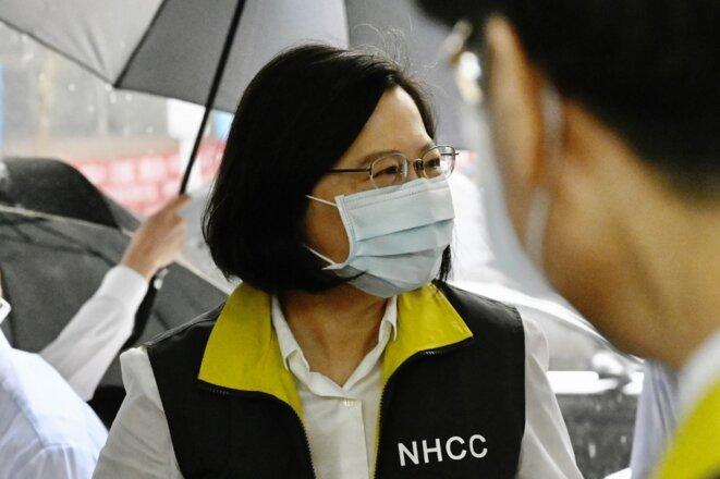 Tsai Ing-wen, la présidente taïwanaise, en visite au Centre de contrôle des maladies à Taipei, le 19 mai 2020. © Sam Yeh/AFP