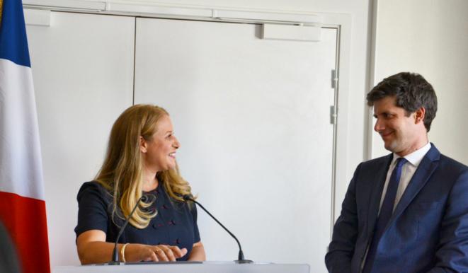 Lors de la passation de pouvoirs entre Nadia Hai et Julien Denormandie. © Capture d'écran du compte twitter de Nadia Hai