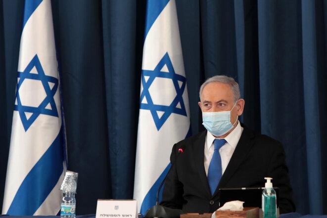 Benjamin Netanyahou lors d'une réunion de son cabinet à Jérusalem, le 5 juillet 2020 © GALI TIBBON / POOL / AFP