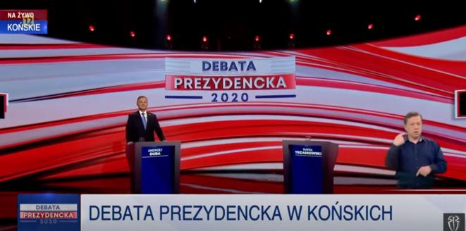 Le débat de la télévision publique a été boycotté par le candidat libéral Rafał Trzaskowski. © Capture d'écran/YouTube