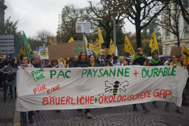 Manifestation pour réformer la PAC à Strasbourg, le 22 octobre 2019. © Amélie Poinssot