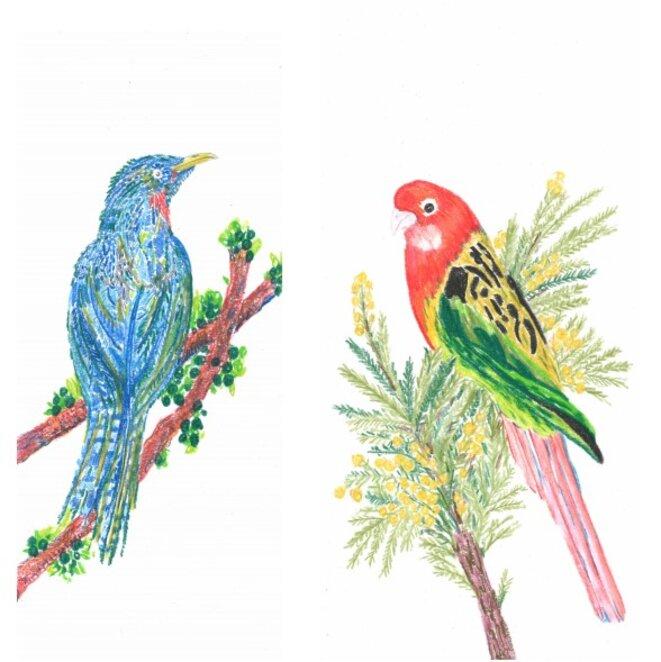 Chourouk Hriech, Les oiseaux dans ma tête #2 et #12, 2020 Aquarelle et crayon de couleur sur papier, 29,7 x 12,7 cm chaque. © Chourouk Hreich, Courtesy galerie Anne-Sarah Bénichou