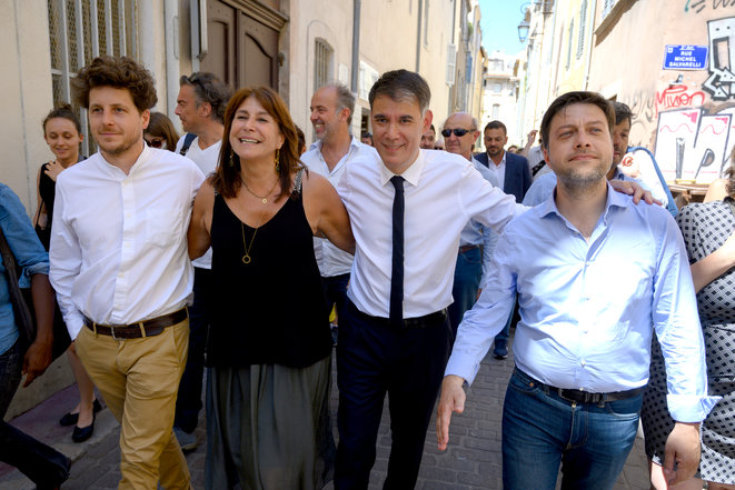 Michèle Rubirola, who was later elected mayor of Marseille, with the Socialist Party's Olivier Faure, centre right, and the green EELV's  Julien Bayou, left, in Marseille on June 28th 2020. © Christophe SIMON / AFP