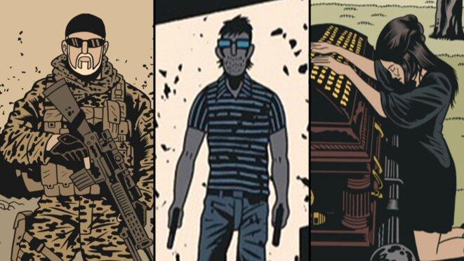"""Montage à partir des dessins de """"L'Homme qui tua Chris Kyle"""". De gauche à droite, Chris Kyle, Eddie Ray Routh, Taya Renae Kyle. © Fabien Nury/ Brüno/Dargaud"""