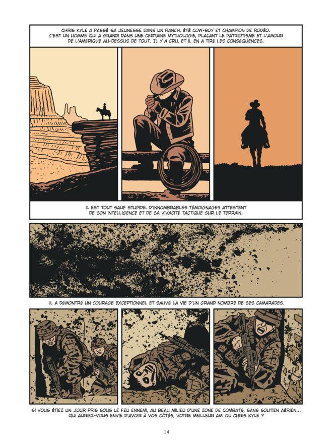 "Page 14 de ""L'Homme qui tua Chris Kyle"". © Fabien Nury/ Brüno/Dargaud"